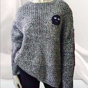 Women's Oversized Knitted Wool Chunky Sweater Crew Neck Pullover Top